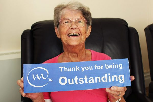A patient at Trimar Hospice, Weymouth, saying thank you to Weldmar