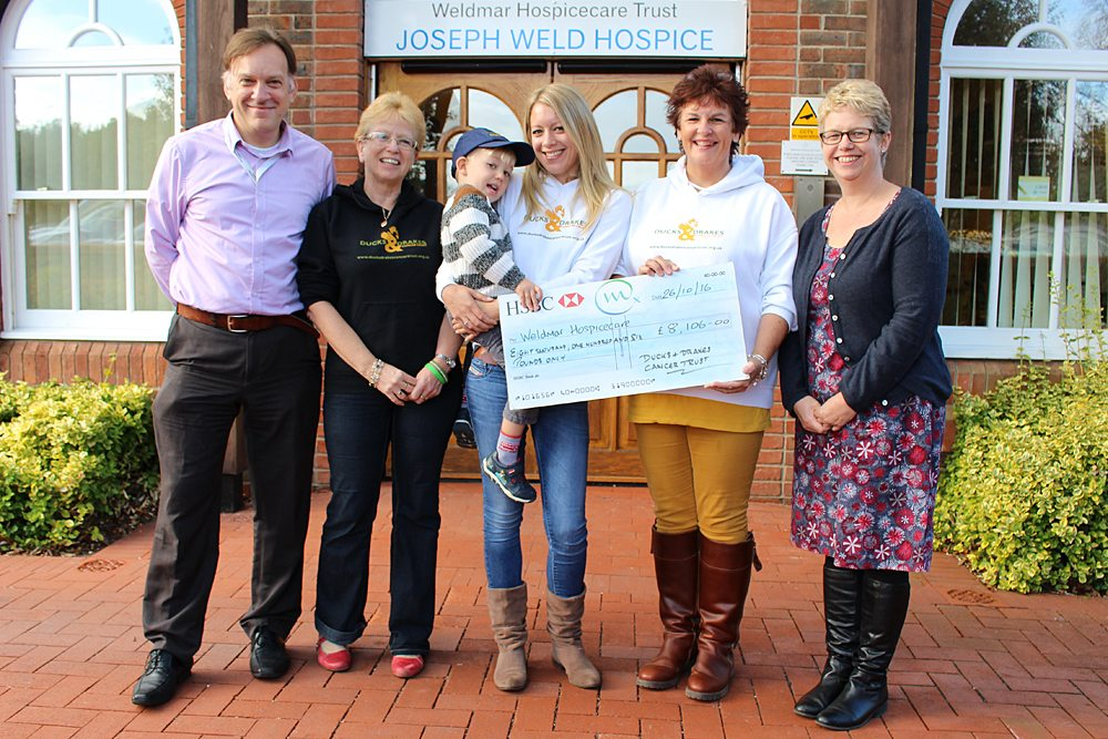 Ducks & Drakes present cheque to Weldmar Hospicecare