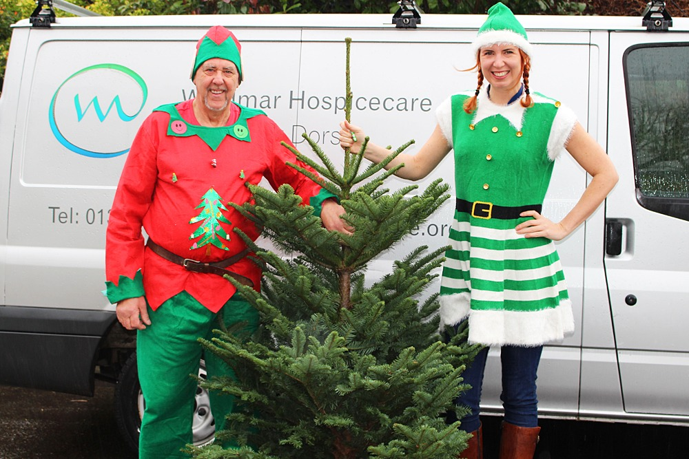 The Weldmar Elves collecting a Christmas tree for recycling