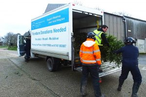 Trees being offloaded at Kingston Maurward for chipping. Christmas tree recycling scheme.