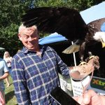 Weldmar Summer Fete 2019. Martin Clunes holding bird of prey.