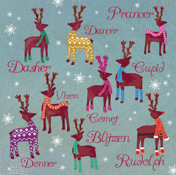 Colourful Reindeer Christmas Cards