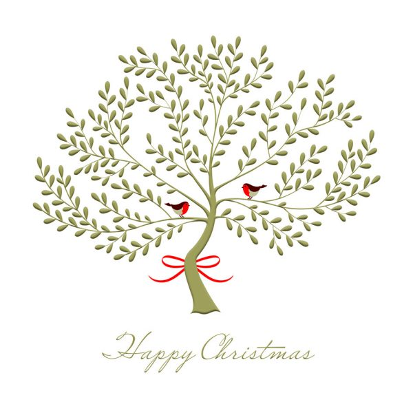 Golden Tree Happy Christmas Cards